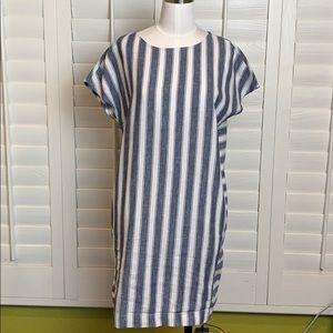 Madewell linen blend button down dress w/pockets